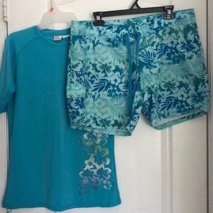 2 piece swim set.  Blue rash guard